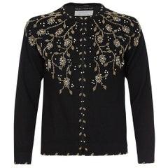 Helen Harper 1960s Black Wool Cardigan With Beaded Embellishment