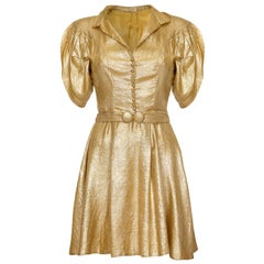 Late 1930s Gold Lame Party Dress with Cape Sleeves and Matching Belt