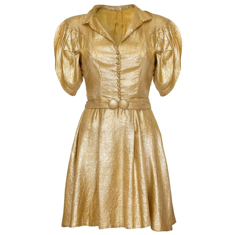 Late 1930s Gold Lame Party Dress with Cape Sleeves and Matching Belt For Sale