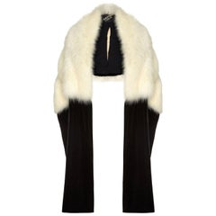Sensational Albert Hart 1930s White Fox Fur Stole with Velvet and Silk Wrap