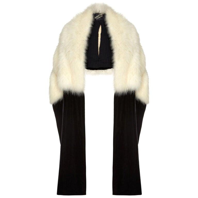 White Fur Stole >> Sensational Albert Hart 1930s White Fox Fur Stole With Velvet And Silk Wrap
