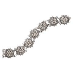 Silver Filigree Flower Design Link Bracelet, circa 1930s