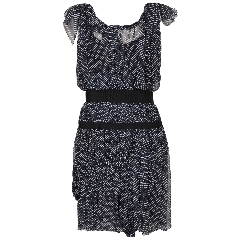 Christian Lacroix Couture 1990s Navy Silk Chiffon Polkadot Dress