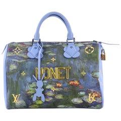 Louis Vuitton Speedy Handbag Limited Edition Jeff Koons Monet Print Canvas 30
