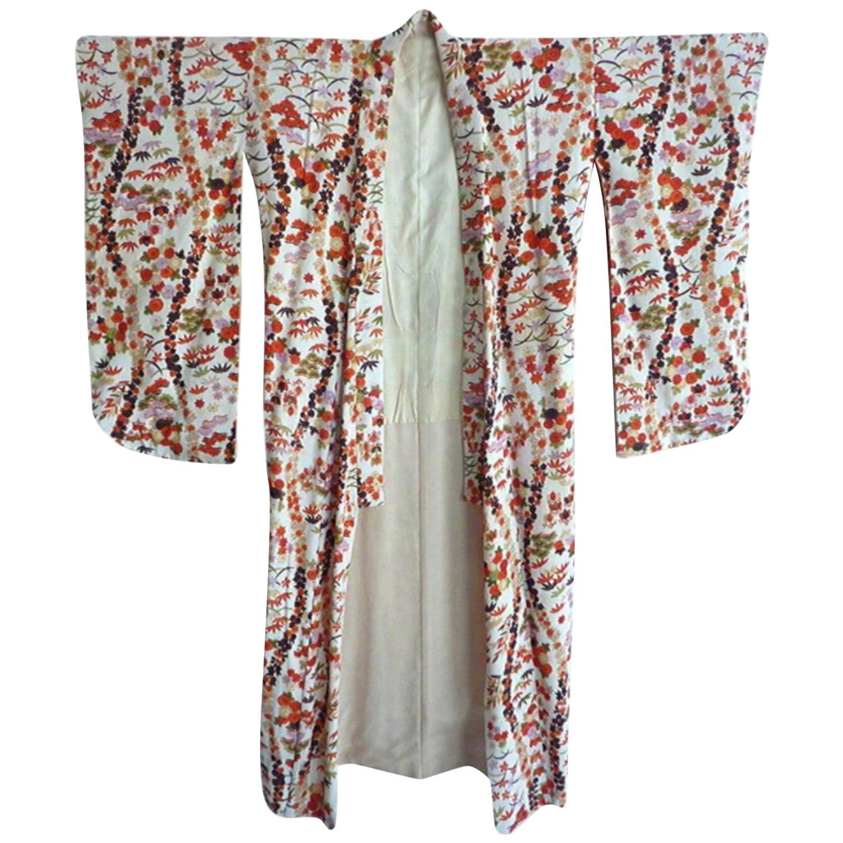 Vintage Cherry blossom Japanese pink red gold hand-painted Ecru Silk Kimono