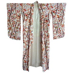 Vintage Cherry blossom Japanese pink red gold hand-painted Ecru Silk Kimono