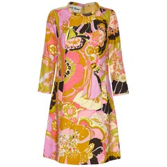 Frank Usher 1960s Silk Psychedelic Print Shift Dress With Fluted Sleeves