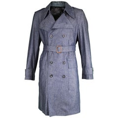 Giuliano Fujiwara Men's Vintage Blue Chambray Belted Trench Coat, 1990s