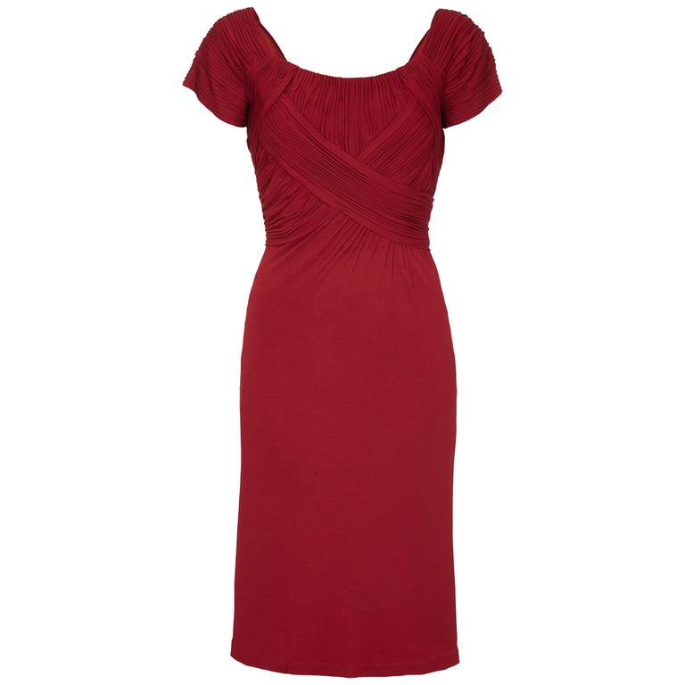 Vintage Harrods 1950s Burgundy Silk Jersey Dress With Pleated Bodice For Sale