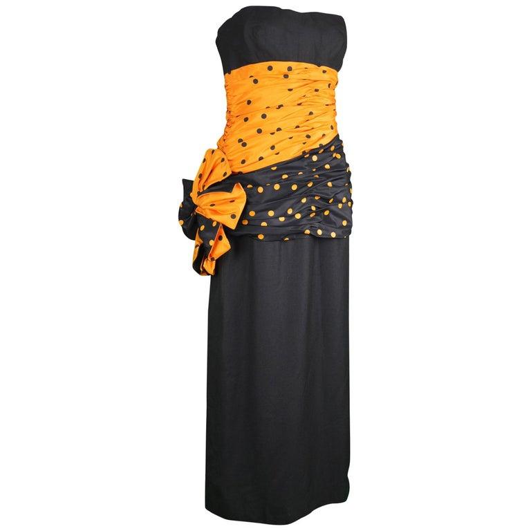 Nina Ricci Vintage Strapless Polka Dot Taffeta & Linen Cocktail Party Dress For Sale
