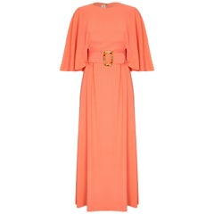 Harry B Popper 1960s Peach Maxi Dress with Cape and Jewelled Belt