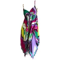Emilio Pucci Colorful Pattern Silk Mini Dress with Handkerchief Hem
