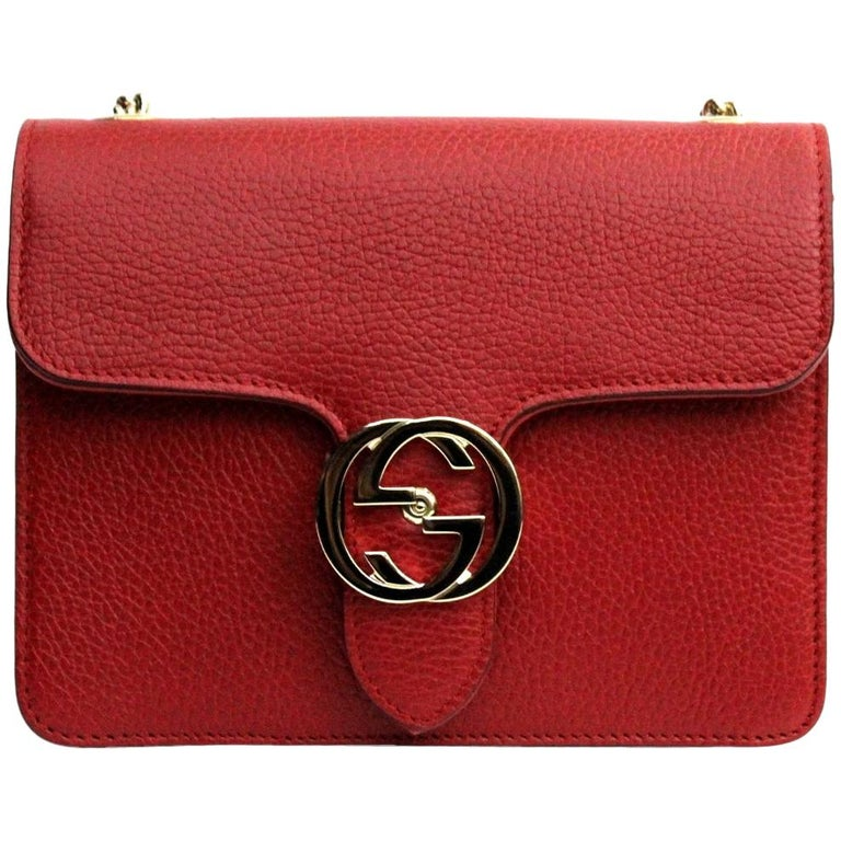 Gucci Red Leather Crossbody Bag For Sale