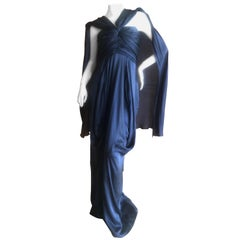 Yves Saint Laurent Rive Gauche Vintage Slate Silk Evening Dress with Draped Back