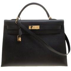 Hermes Black Epsom Leather Gold Hardware Kelly Sellier 40 Bag