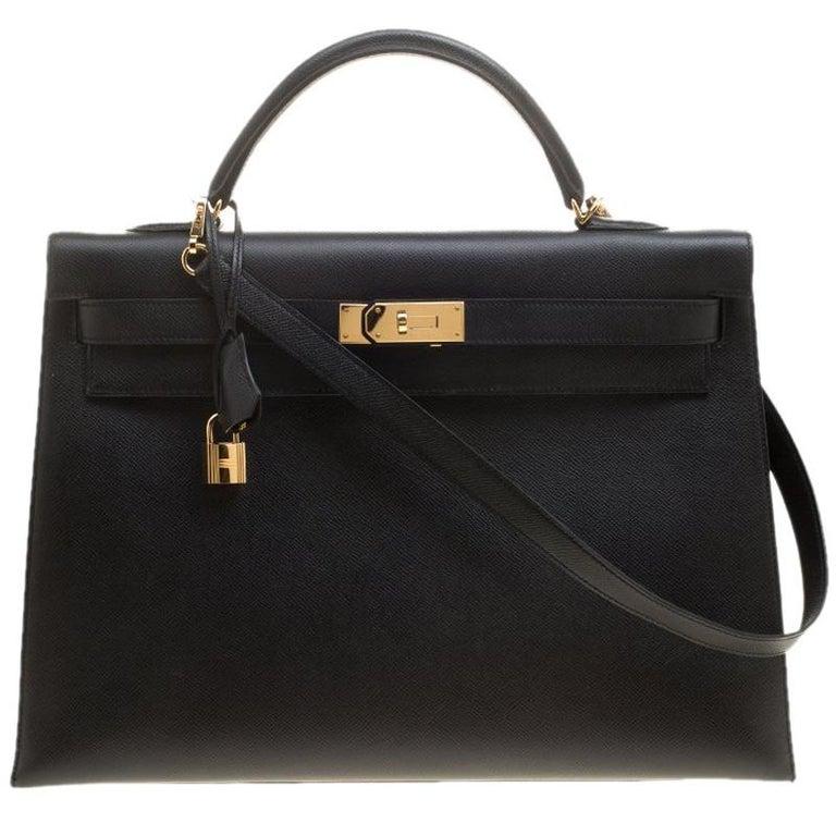 Hermes Black Epsom Leather Gold Hardware Kelly Sellier 40 Bag For Sale
