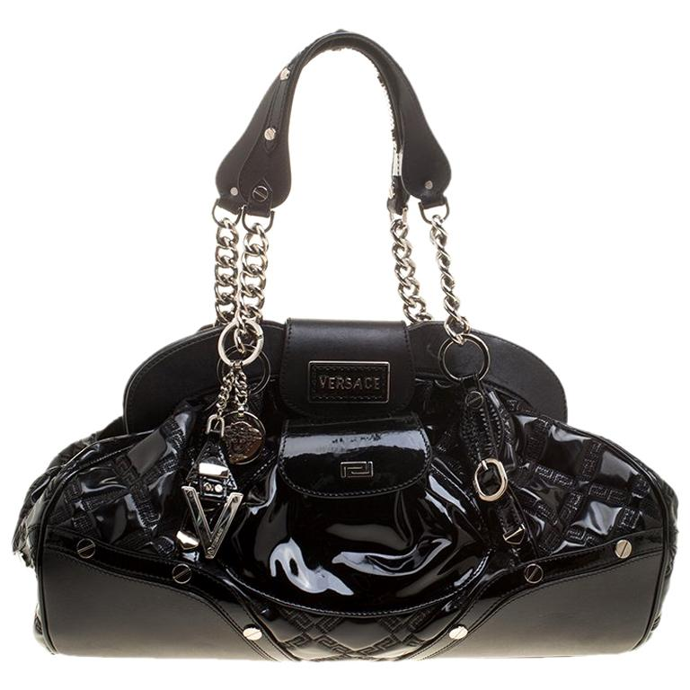 8c56dd474d Versace Black Patent Leather Chain Link Satchel For Sale at 1stdibs