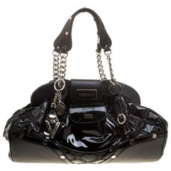 Versace Black Patent Leather Chain Link Satchel