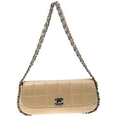 Chanel Beige Leather Triple Chain Chocolate Bar Flap Shoulder Bag