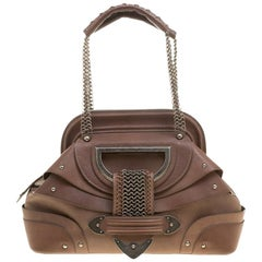 Dior Brown Leather Jeanne Frame Satchel