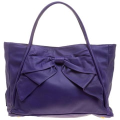 Valentino Purple Leather Bow Tote
