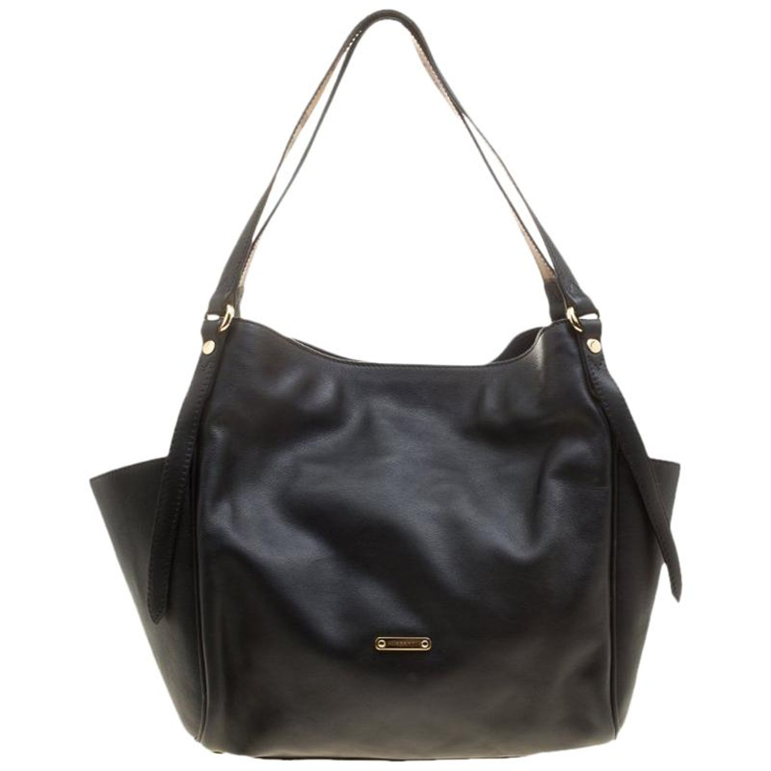 7dc32a5dd36e Burberry Black Leather Small Canterbury Tote For Sale at 1stdibs