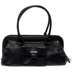 Salvatore Ferragamo Black Leather Frame Satchel