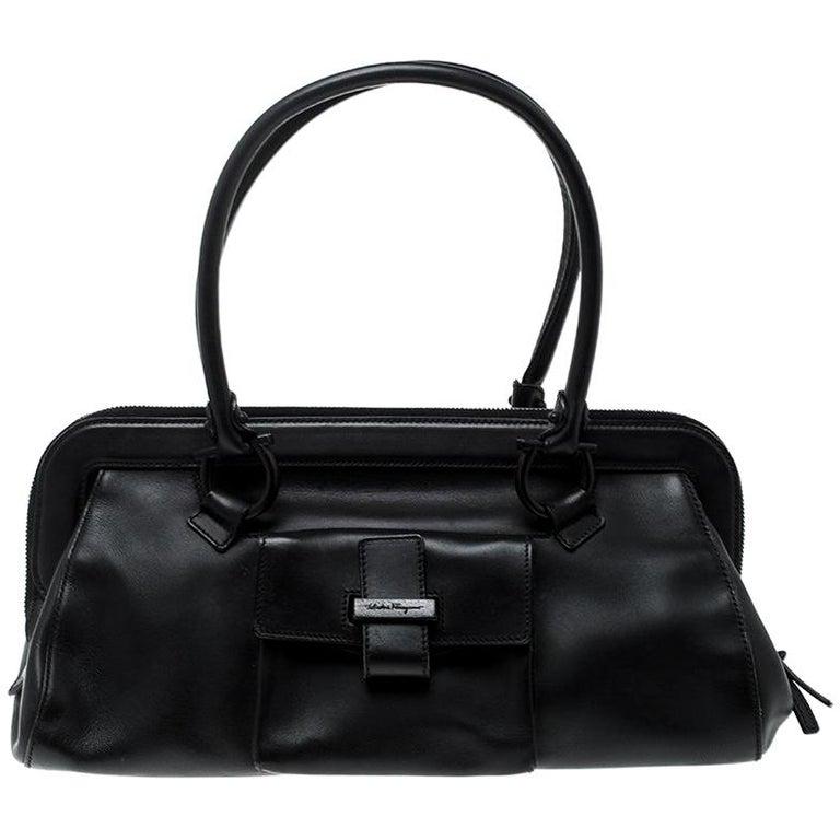 8be1bec1b0 Salvatore Ferragamo Black Leather Frame Satchel For Sale at 1stdibs