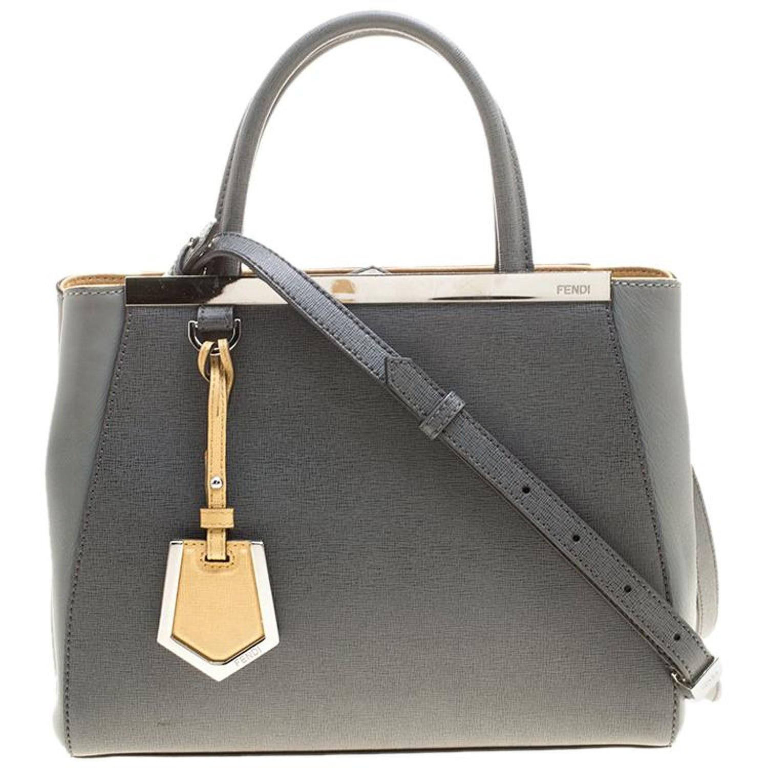 1f4ca03b75f3 Fendi Grey Two Tone Saffiano Leather Small 2Jours Tote For Sale at 1stdibs