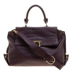 Salvatore Ferragamo Purple Leather Medium Sofia Satchel