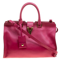 Saint Laurent Paris Hot Pink Leather Small Cabas Chyc Tote