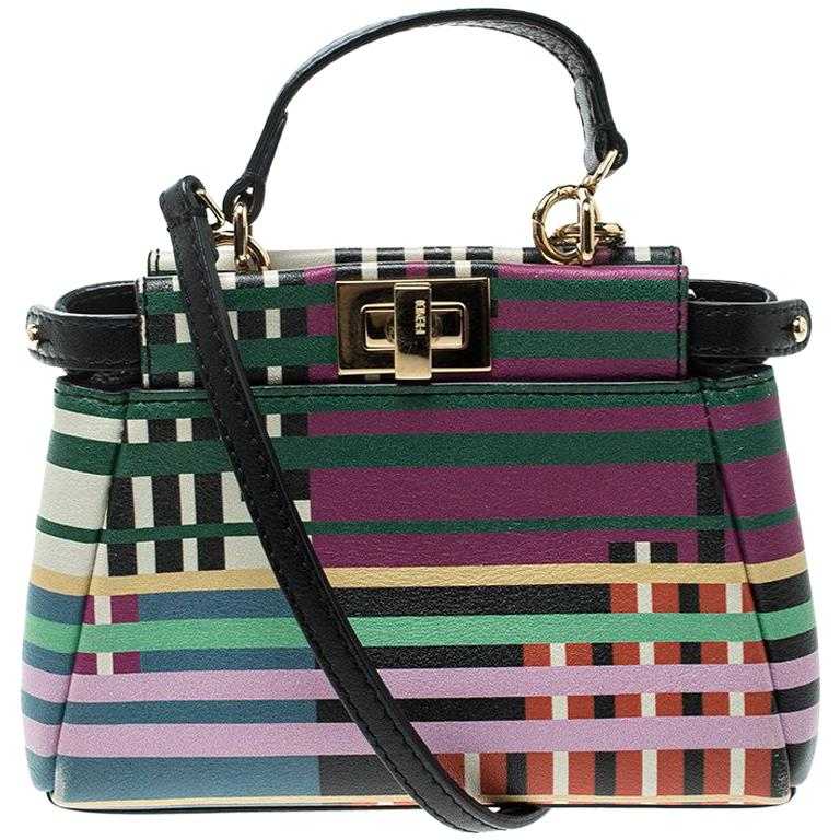 Fendi Multicolor Stripe Print Leather Micro Peekaboo Bag For Sale at 1stdibs 3220519cdbf04