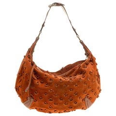 Louis Vuitton Orange Monogram Suede Limited Edition Onatah Fleurs GM Hobo