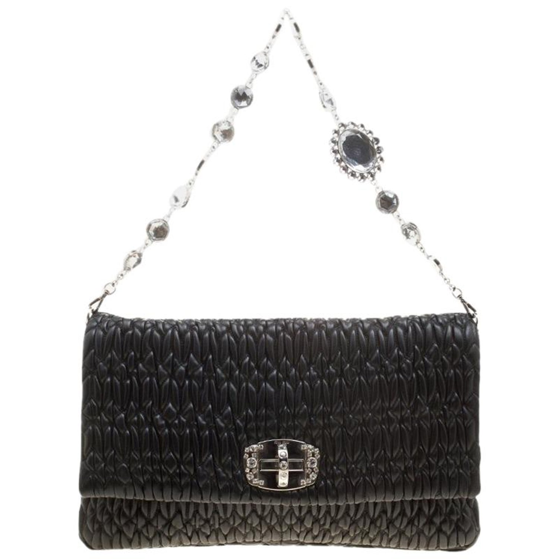 8b01ba4298c Miu Miu Black Matelassé Leather Crystal Flap Shoulder Bag For Sale at  1stdibs
