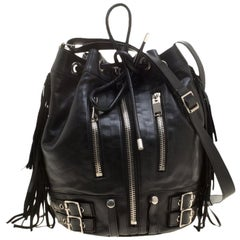 Saint Laurent Black Leather Rider Bucket Bag