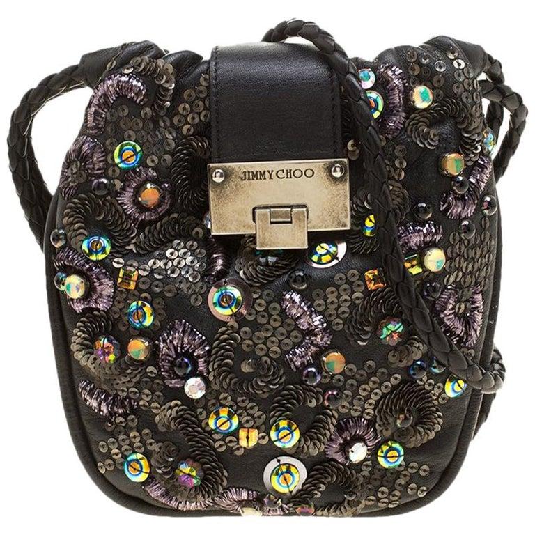 Jimmy Choo Black Leather Sequin Embellished Crossbody Bag For Sale