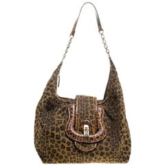 Fendi Brown/Black Leopard Print Canvas B Buckle Hobo