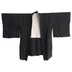 Vintage Japanese black silk embroidered short Kimono Jacket