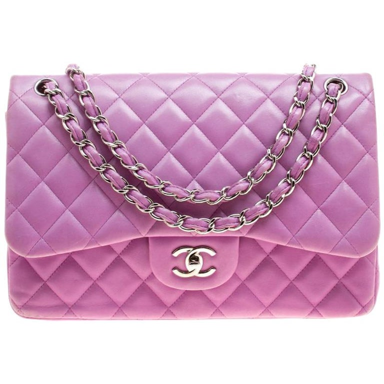 c6d820b4888b Chanel Lilac Quilted Leather Jumbo Classic Double Flap Bag For Sale ...