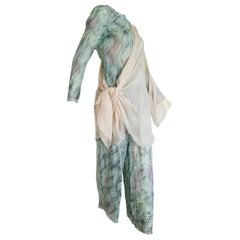 Giorgio ARMANI Green Abstract Design Chiffon 3 pcs Silk Ensemble - Unworn, New.