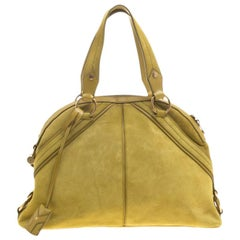 Saint Laurent Yellow Suede Large Muse Bag
