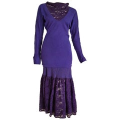 FENDI Wool Violet Lace Sweater Skirt Outfit - Unworn, New