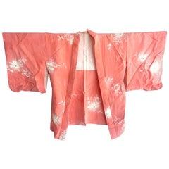 Vintage Japanese pink silk peony kimono boho jacket with gold embroidery