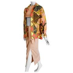 GUCCI Safari Theme Unique Design Jacket Top Skirt Silk Ensemble - Unworn, New