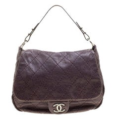 Chanel Purple Leather Wild Stitch Shoulder Bag