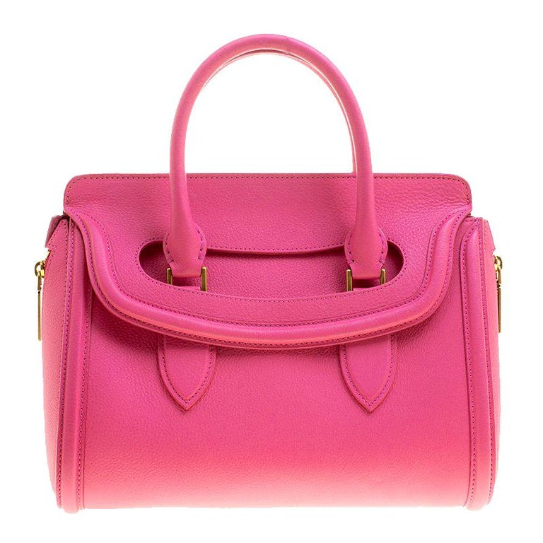 Alexander McQueen Pink Leather Small Heroine Satchel For Sale