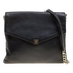 Carolina Herrera Black Leather Envelope Shoulder Bag