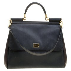Dolce and Gabbana Black/Brown Leather Large Miss Sicily Tote