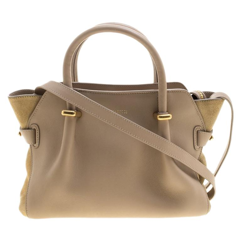 916235402752 Nina Ricci Beige Leather and Suede Small Marche Tote For Sale at 1stdibs