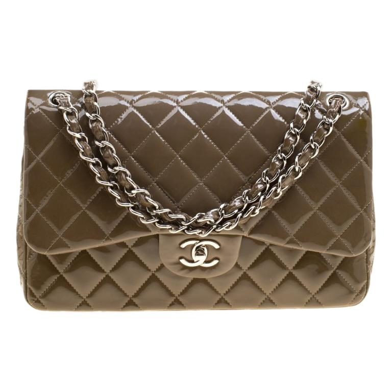 4a657447b8ca24 Chanel Khaki Quilted Patent Leather Jumbo Classic Double Flap Bag For Sale
